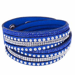 Unisex Royal Blue Rhinestone Paved Leather Bracelet
