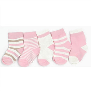 Girls Baby Cute Pink Breathable Printed Cotton 5Pairs Socks