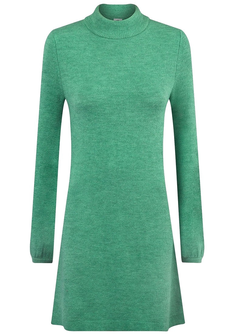 Green High Neck Soft Knitted Jumper Dress