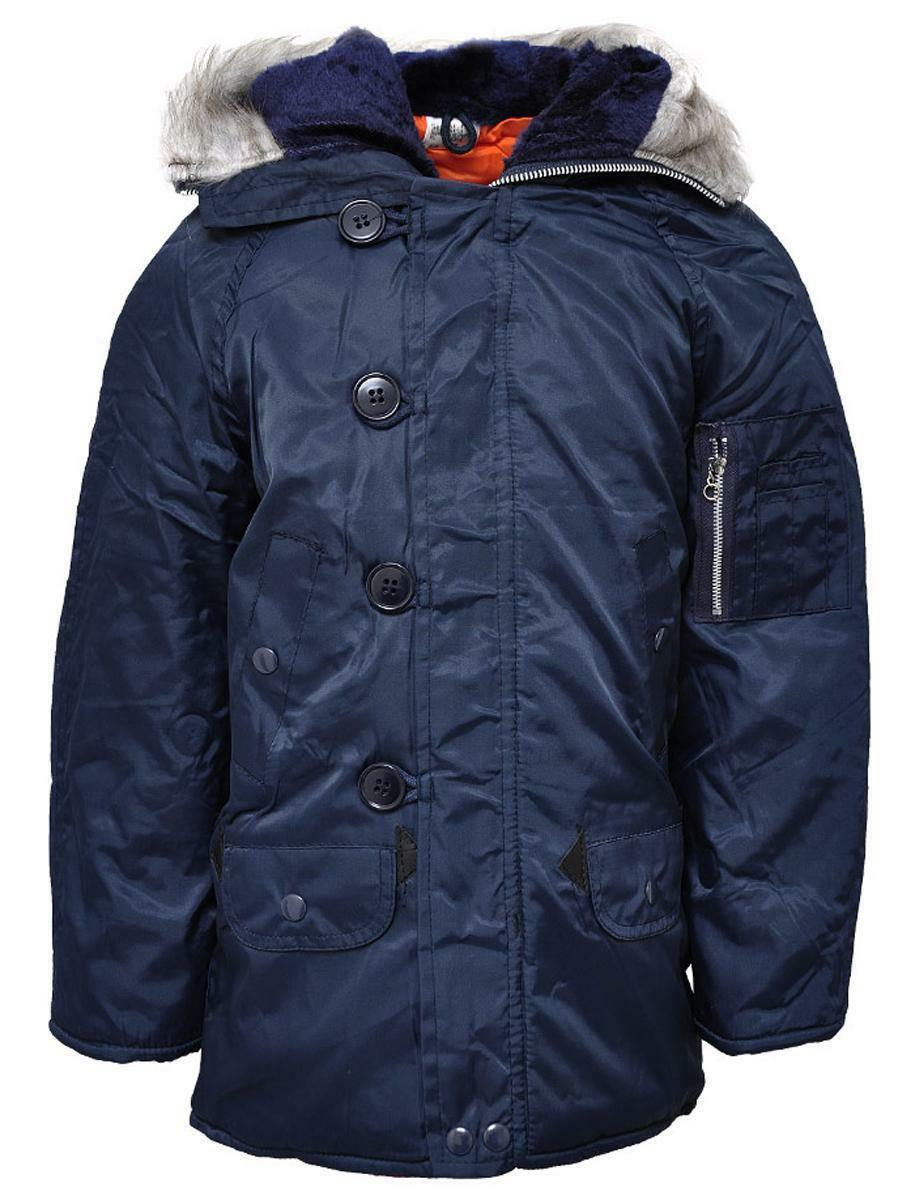 Boys Navy Faux Furry Trimm Hooded Parka Winter Coat