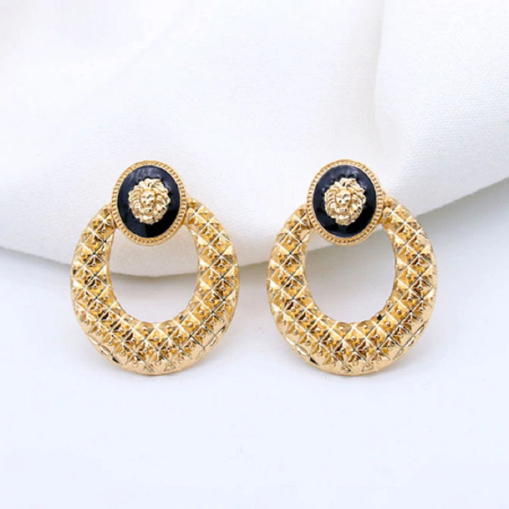 Round Big 18K Gold Plated Tiger Head Myth Medusa Ring Loop Stud Earrings