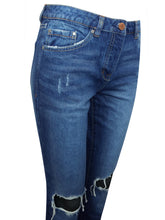 Load image into Gallery viewer, Blue Denim Boyfit Ripped Knees Frayed Hem Jeans