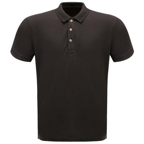 Mens Black Regatta Cotton Polo Short Sleeve Shirt