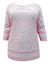 Load image into Gallery viewer, Pink Sheego Floral Lace Insert Cotton Plus Size Top