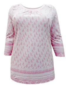 Pink Sheego Floral Lace Insert Cotton Plus Size Top