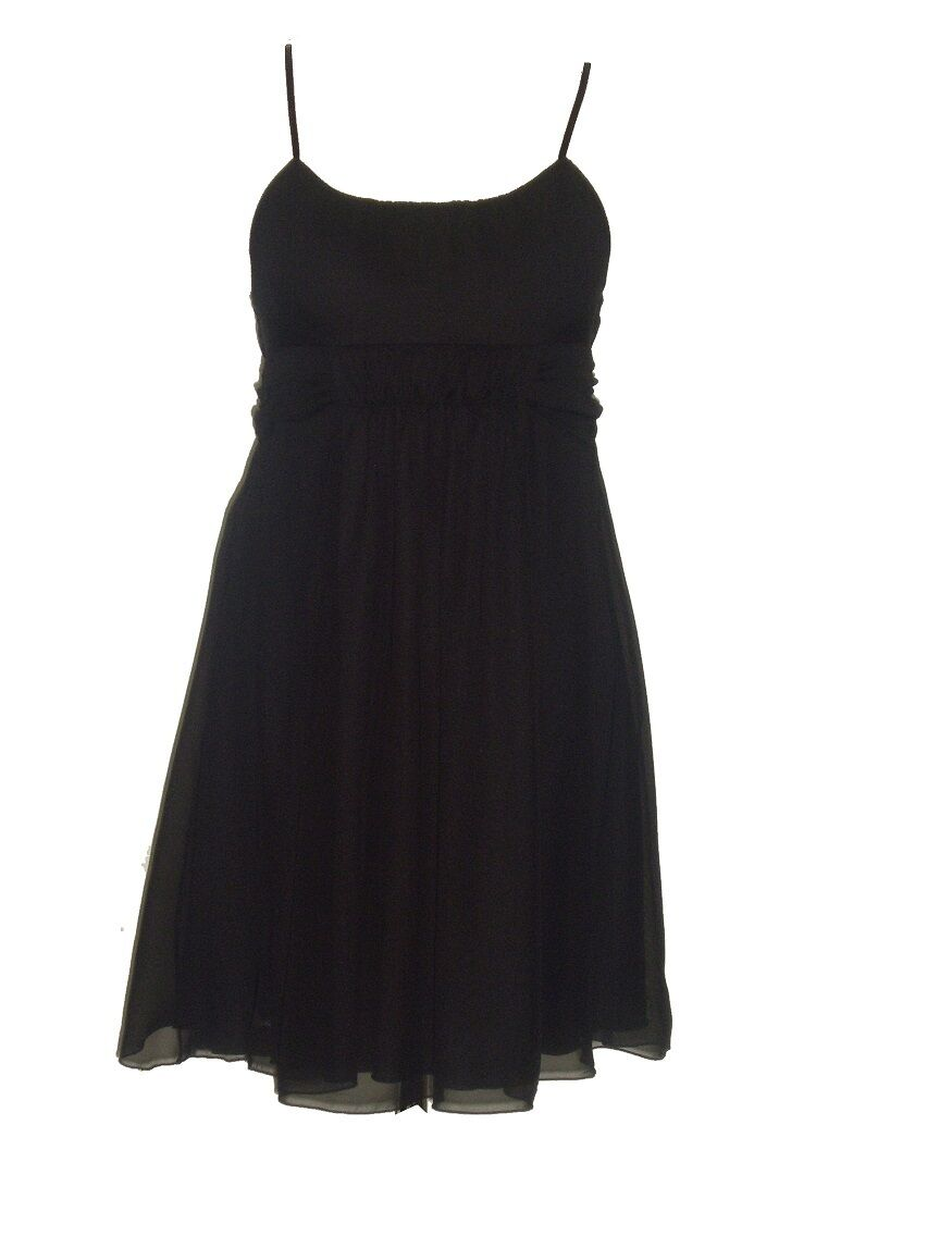 Black adjustable strap chiffon mini dress