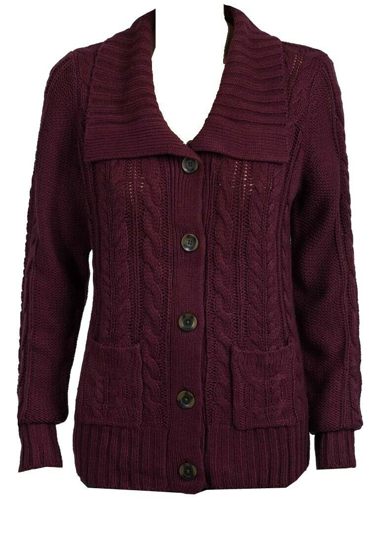 Maroon Cable Knit Button Down Flap Collar Cardigan