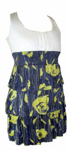 Cream and Yellow Multi Floral Print Short Dress