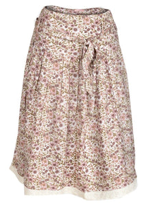 Beige Multi Blosson Floral A-Line Skirt
