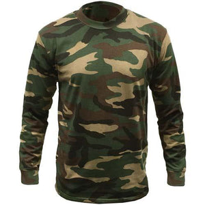 Mens Game Woodland Camouflage Long Sleeve T Shirt