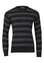 Load image into Gallery viewer, Mens Black Thin Stripe Crew Neck Knitted Jumper