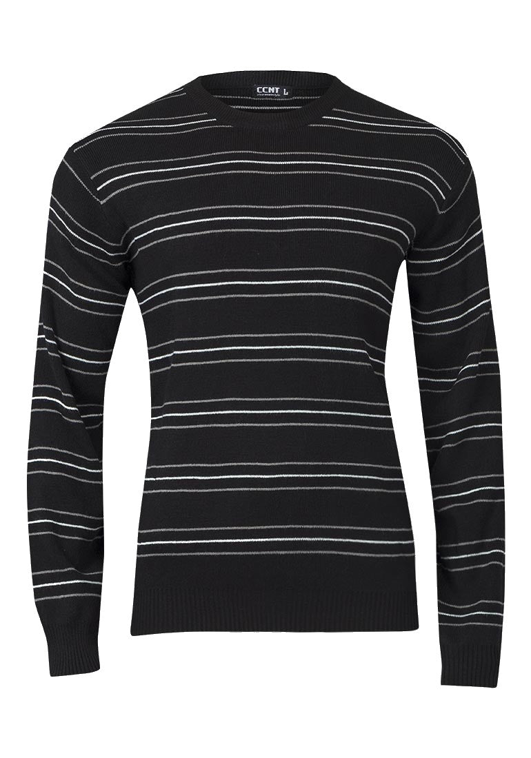 Mens Black Thin Stripe Crew Neck Knitted Jumper