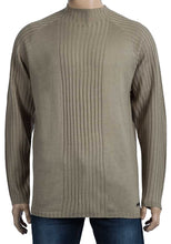 Load image into Gallery viewer, Mens Sand Oxyzone High Neck Ribbed Stripe Knitted Jumper