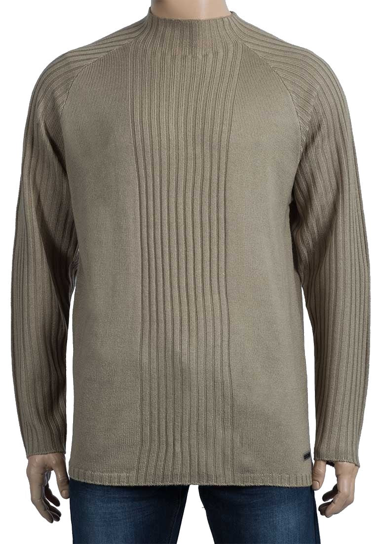 Mens Sand Oxyzone High Neck Ribbed Stripe Knitted Jumper