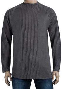 Mens Grey Oxyzone High Neck Ribbed Stripe Knitted Jumper