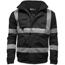 Load image into Gallery viewer, Mens Hi Vis Visibility Two Tone Waterproof Bomber Safety Jacket