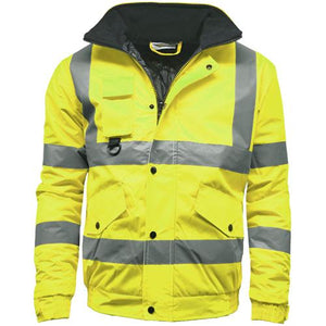 Mens Hi Vis Visibility Two Tone Waterproof Bomber Safety Jacket