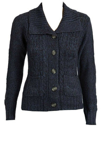 Navy Cable Knit Button Down Flap Collar Cardigan