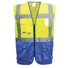 Load image into Gallery viewer, Mens Portwest Warsaw Executive Two Tone Hi Vis Safety Waistcoat