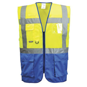 Mens Portwest Warsaw Executive Two Tone Hi Vis Safety Waistcoat