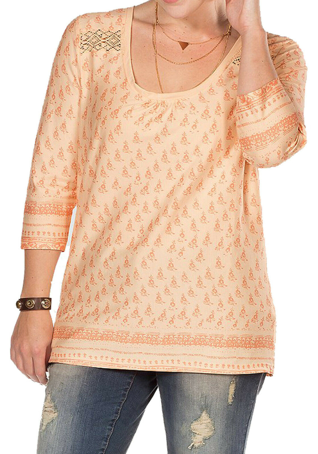 Orange Sheego Floral Lace Insert Cotton Plus Size Top