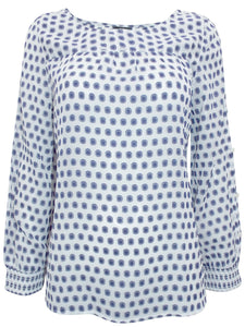 Blue Printed Long Sleeve Chiffon Top