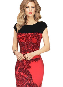 Red & Black Floral Sleeveless