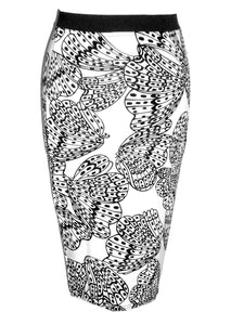 Black & White Butterfly Print Bodycon Pencil Skirt