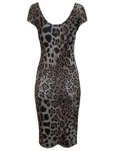 Brown & Grey Multi Animal Print Dress