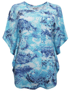 Blue/ Aqua Multi Paisley Printed Kaftan Short Sleeve Blouse