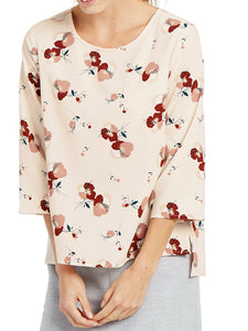 Peach Pink Floral Print 3/4 Sleeve Shell Tunic Top