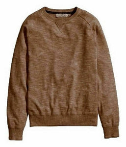 Brown Knitted Long sleeve Crew Neck Cotton Jumper