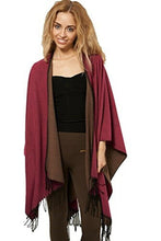 Load image into Gallery viewer, Reversible Knitted Tassel Fringe Poncho Wrap