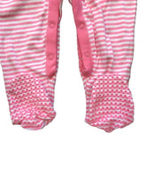 Load image into Gallery viewer, White & Pink Cotton Anti Slip Footie Romper