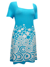 Load image into Gallery viewer, Sheego Blue & White Circle Border Print Dress