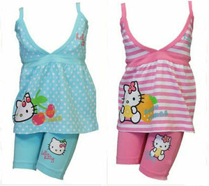 Hello Kitty Pink Blue Spotty Stripe Top & Leggings Set