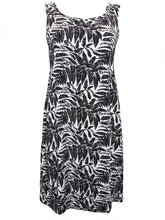 Load image into Gallery viewer, Black & White Multi Scoop Back Palm Print Dress