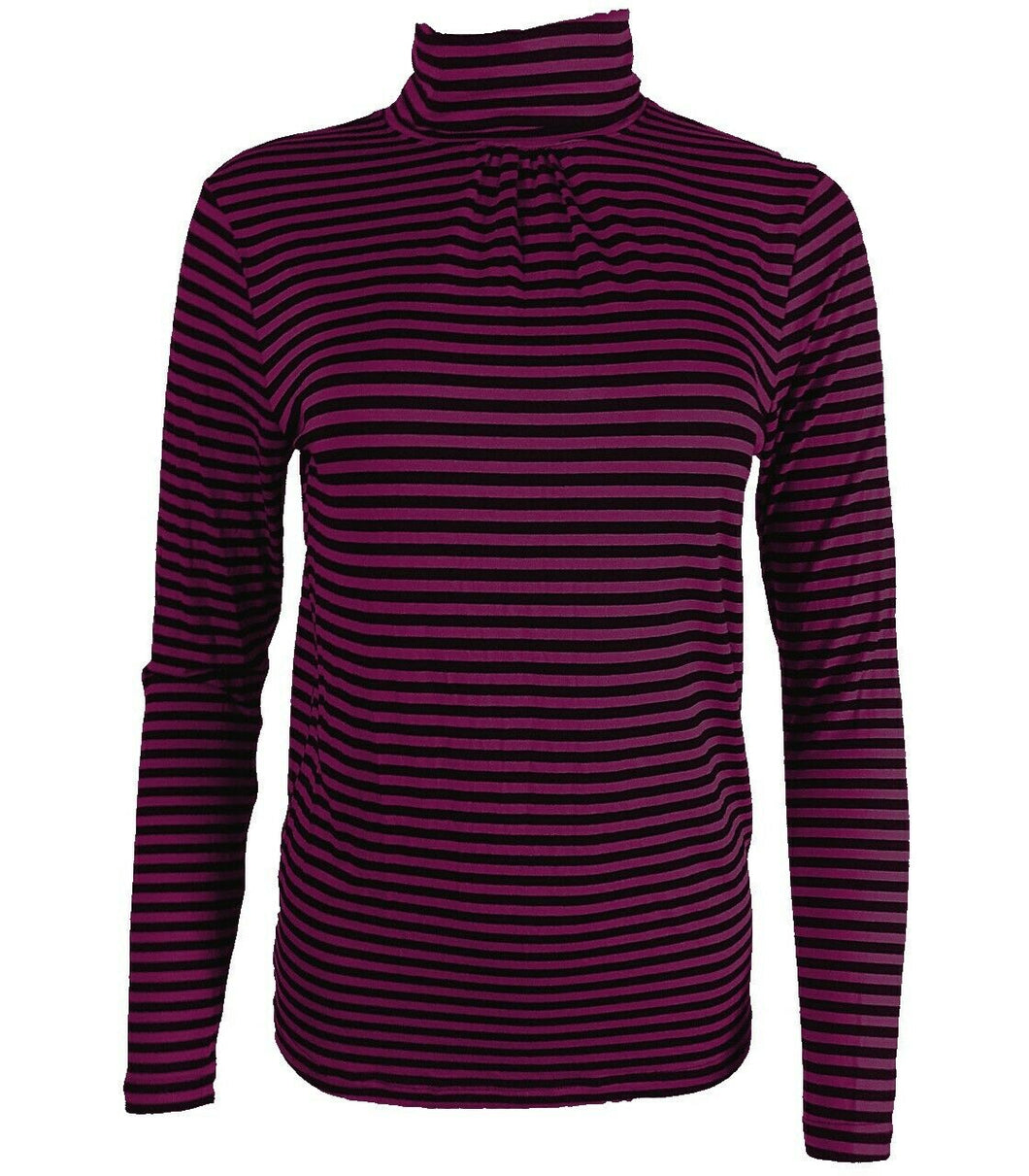 Black & Maroon Striped Long sleeve Turtle Polo Neck Top
