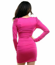 Load image into Gallery viewer, Pink mini dress with knot front design and necklace.