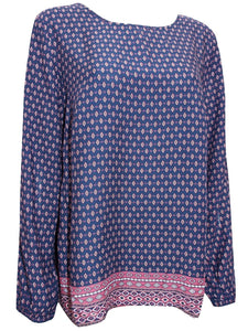Navy Border Print Long Sleeve Patterned Tunic Top