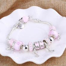 Load image into Gallery viewer, Silver & Pink Charms Beads Crystal Pandora Style Bracelets