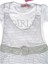 Load image into Gallery viewer, Grey & White Striped Short sleeve Top Dress & Leggings Set