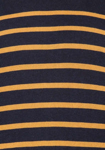 Midnight Blue Stripe Knitted Cotton Jumper