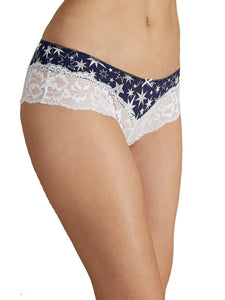 Blue Floral Print Wide Lace Trim Brazilian Knickers