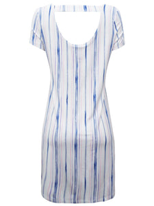 White & Blue Striped Cut-Out Back Jersey Dress