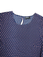 Load image into Gallery viewer, Navy Border Print Long Sleeve Patterned Tunic Top