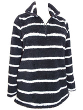 Load image into Gallery viewer, Black & White Striped Teddy Chunky Fleece Jumper