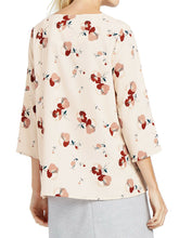 Load image into Gallery viewer, Peach Pink Floral Print 3/4 Sleeve Shell Tunic Top