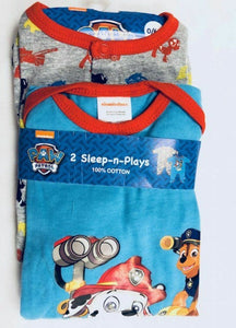 Blue Multi Paw Patrol 2 Pack Cotton Sleepsuit