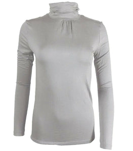 Grey Roll Neck Plain Turtle High Neck Top Jumper